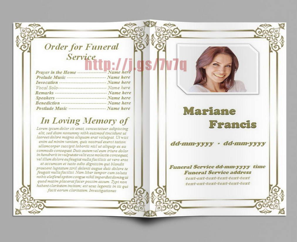 Fill In Memorial Funeral Program Template. The Inside Page Is Https://www