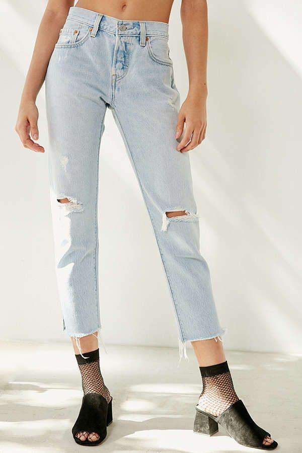 b2ac8dbd3ab $98 Levi's 501 Cropped Skinny Jean - Bowie Blue SOLD by Urban Outfitters -  Affiliate - Levi's original high-waist 501 skinny jean in a faded +  distressed ...