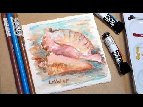 Watercolor Seashell Conch Shell Painting Tutorial Easy