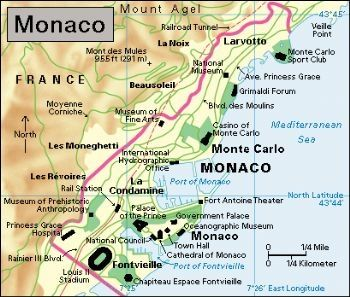 A map of Monaco Coastline 249sq miles41sq kilometres Land 1sq