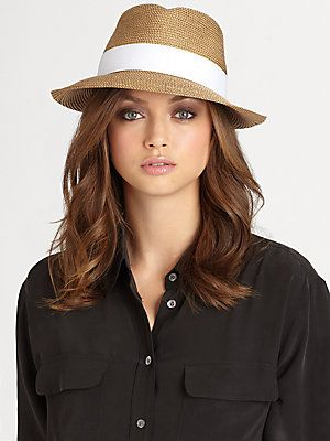 52f920a95150c Eric Javits Straw Fedora crafted in Squishee® packable straw and banded  with a grosgrain ribbon. Brim