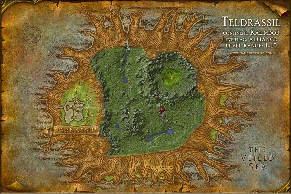 Teldrassil Map with Locations, NPCs and Quests - World of Warcraft ...