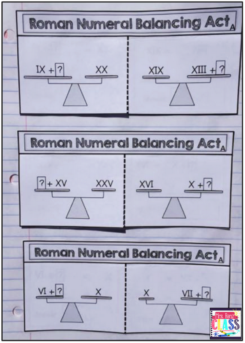 Workbooks worksheets on roman numerals : Roman Numerals Interactive Notebook Set Grades 3-5. 18 foldable ...