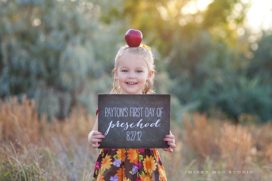 First Day of School (photography and sign by Missy Moo Studio)