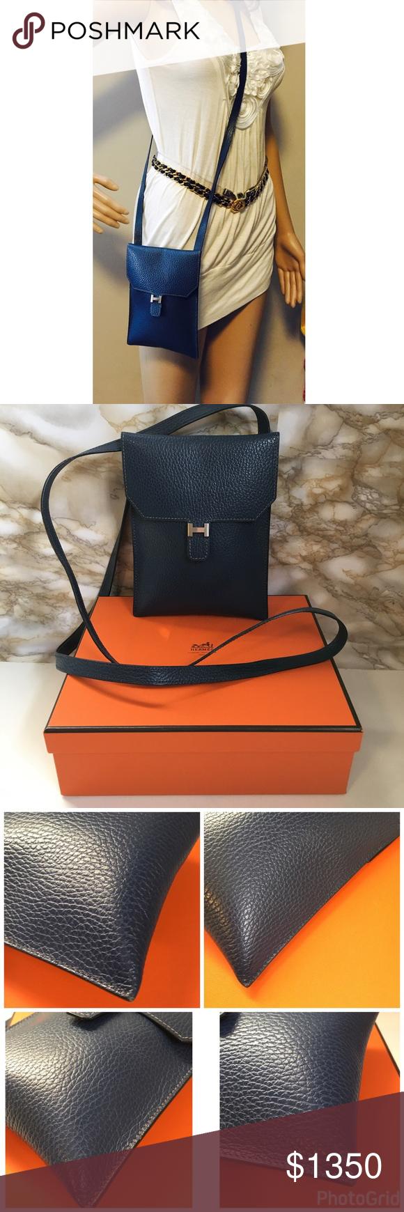 Hermes Bleu Rio shoulder  cross body bag Size W  5.31
