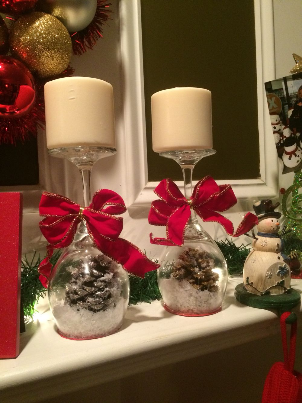 Wine Glasses Pine Cone Glue Fake Snow And Construction Paper Of Course I Christmas Wine Glass Candle Holder Christmas Centerpieces Holiday Decor Christmas