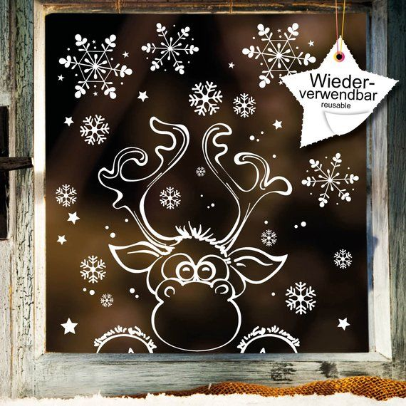 Window picture Christmas moose window sticker Snowflakes REUSE #backrounds