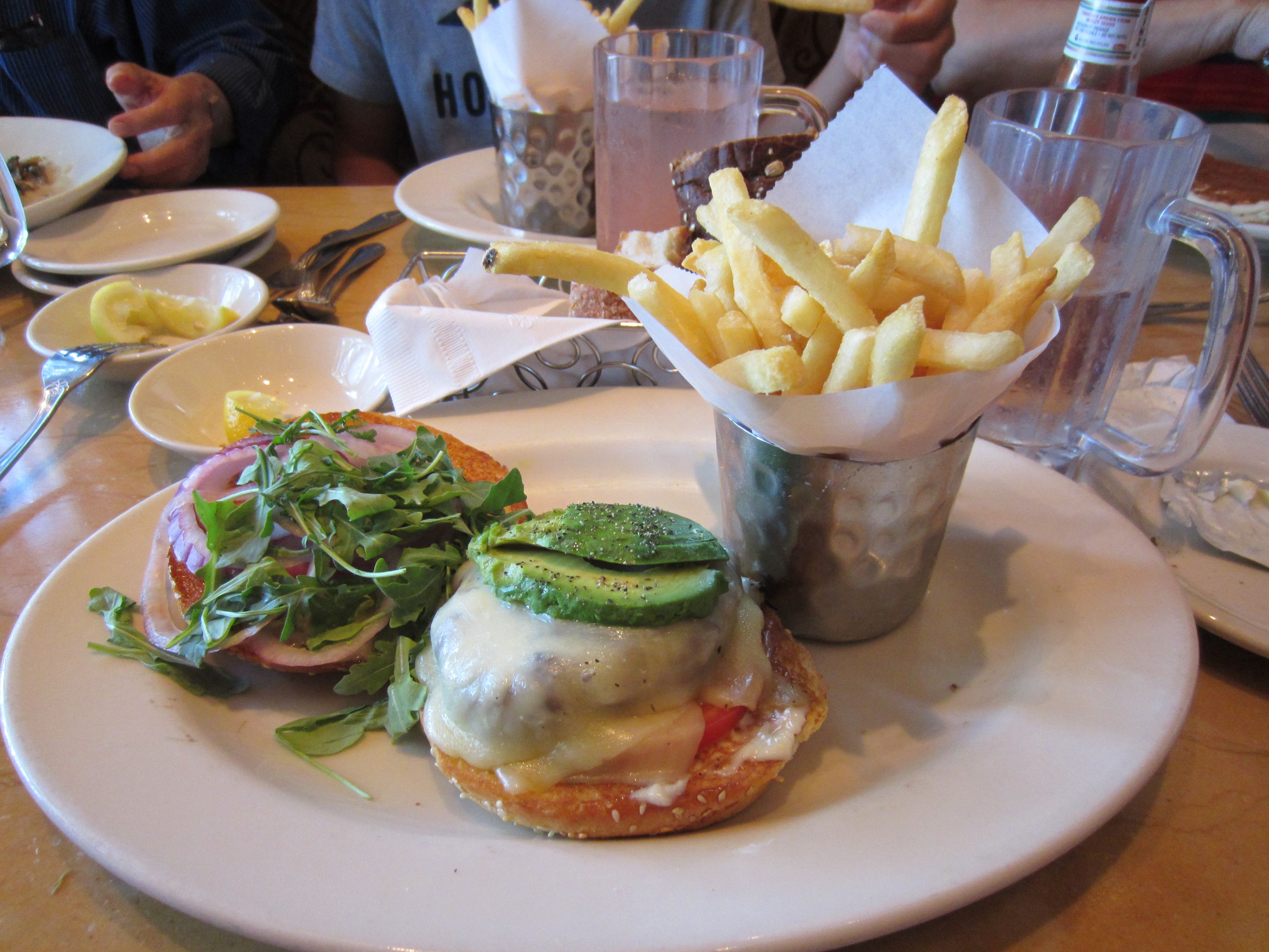 Lunch at Cheesecake factory. Dis is the Monterey Cheddar Burger