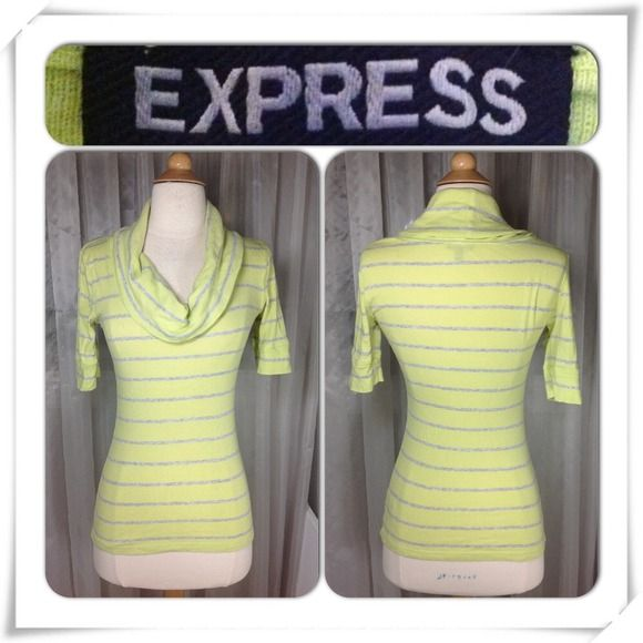 "Selling this ""Express cowl neck yellow grey striped tunic top"" in my Poshmark closet! My username is: sugarmax9. #shopmycloset #poshmark #fashion #shopping #style #forsale #Express #Tops"