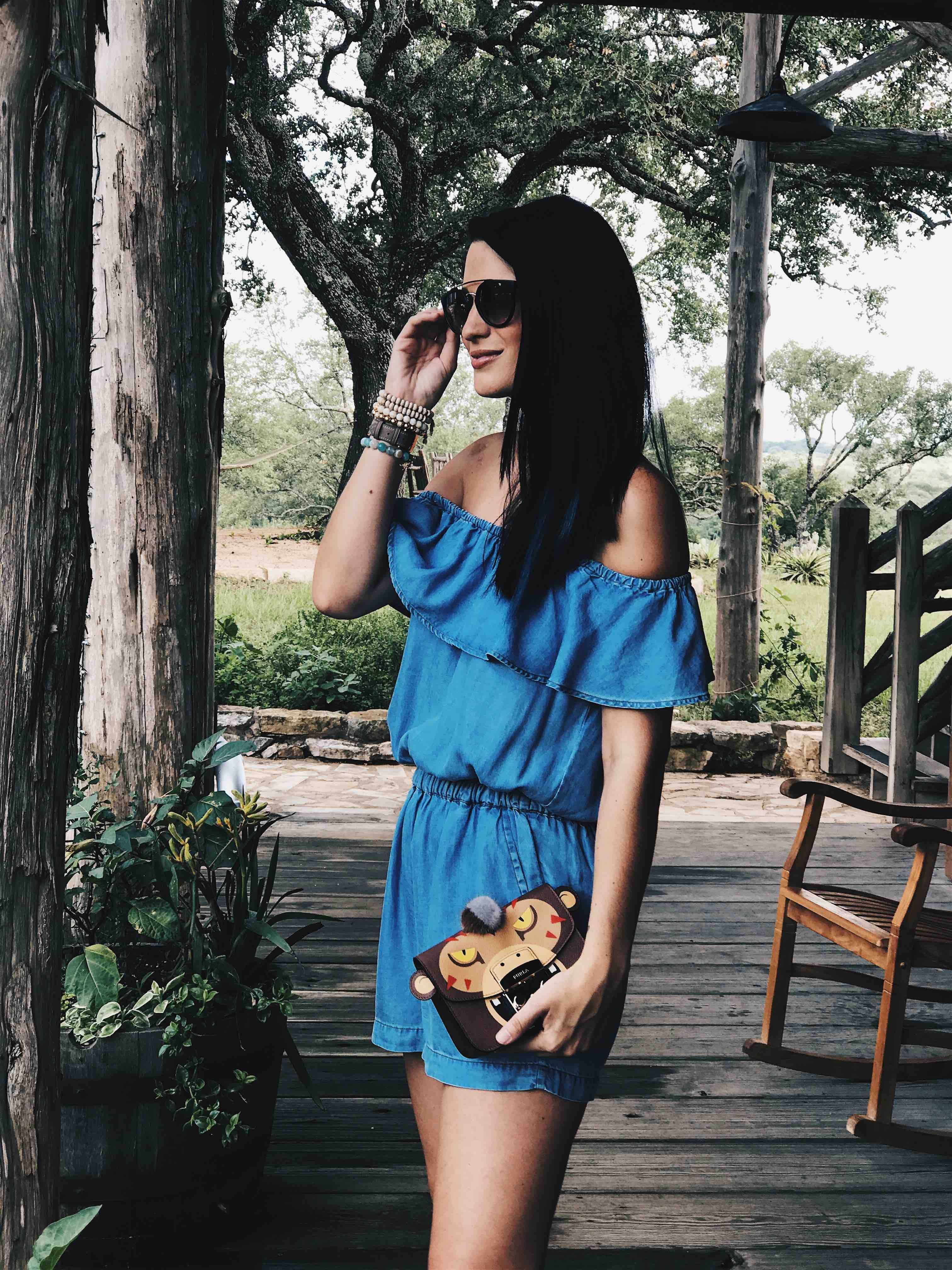 24d82fae572 DTKAustin shares details on the most versatile Splendid chambray romper and  how to wear it dressy for date night and casual on the beach.