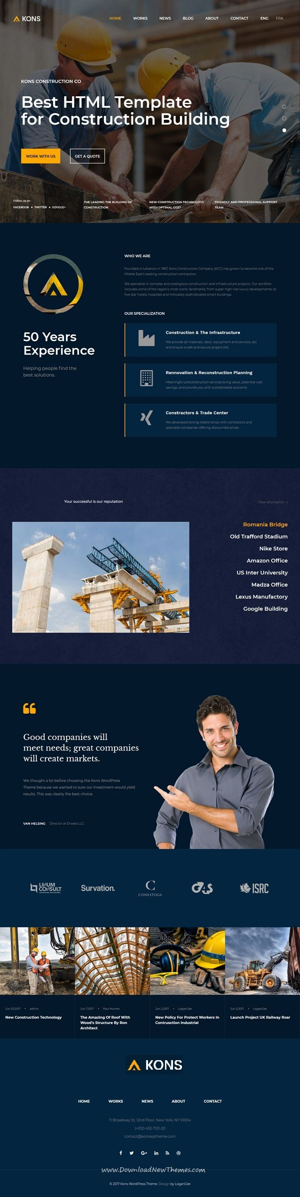 Kons Is Clean And Modern Design 6in1 Responsive Bootstrap Html Template For Stunning Construction Architecture And Templates Construction Building Companies