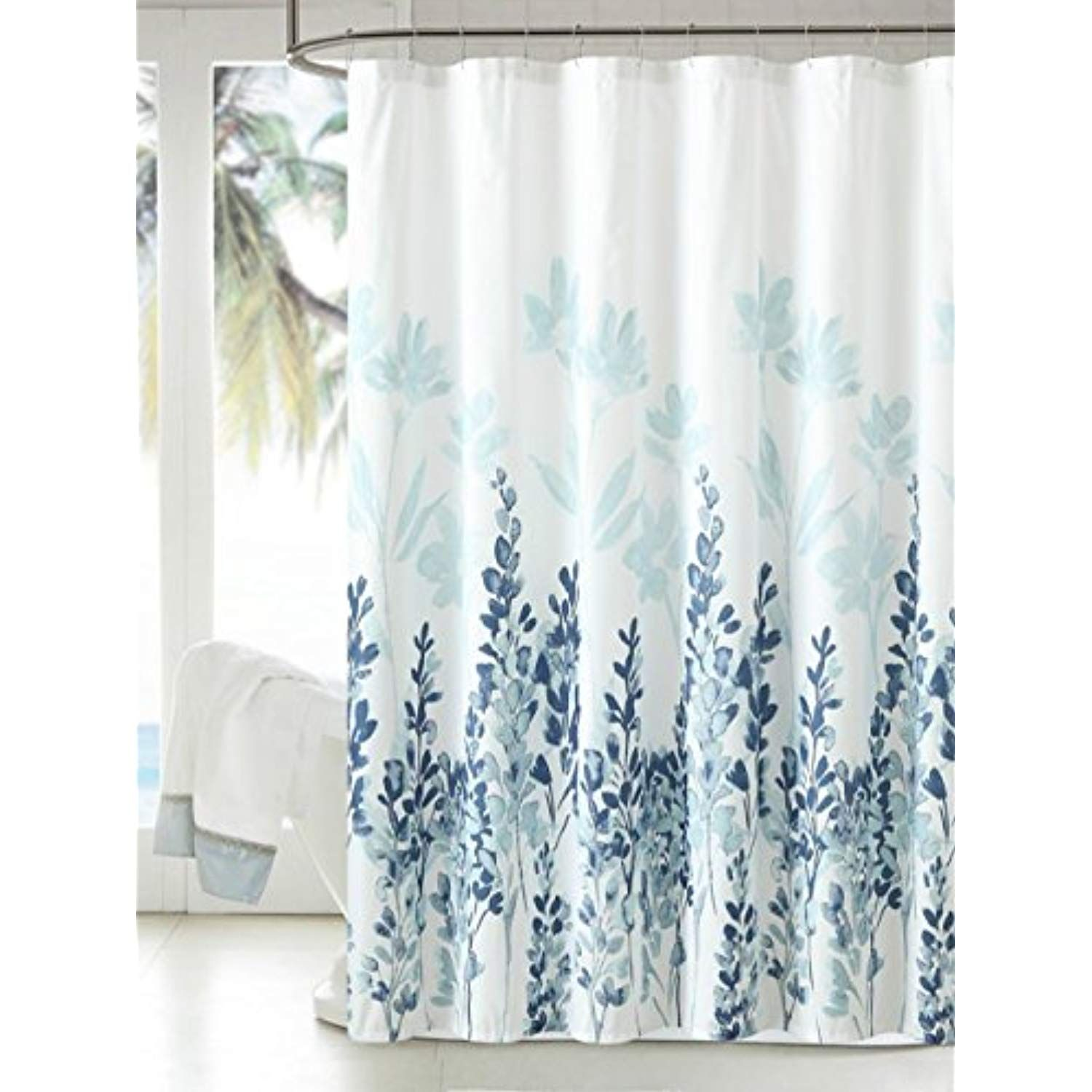 Manggou Fabric Shower Curtain Japanese Style Flowers Shower