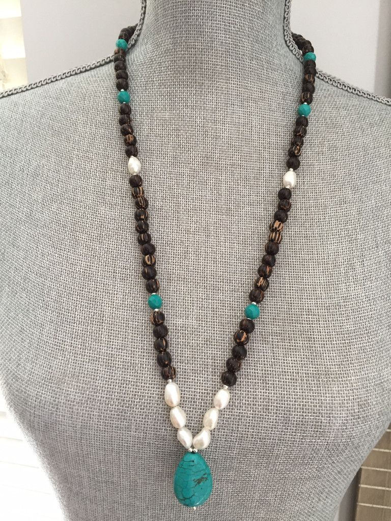 Coconut mala necklace freshwater pearl and turquoise howlite