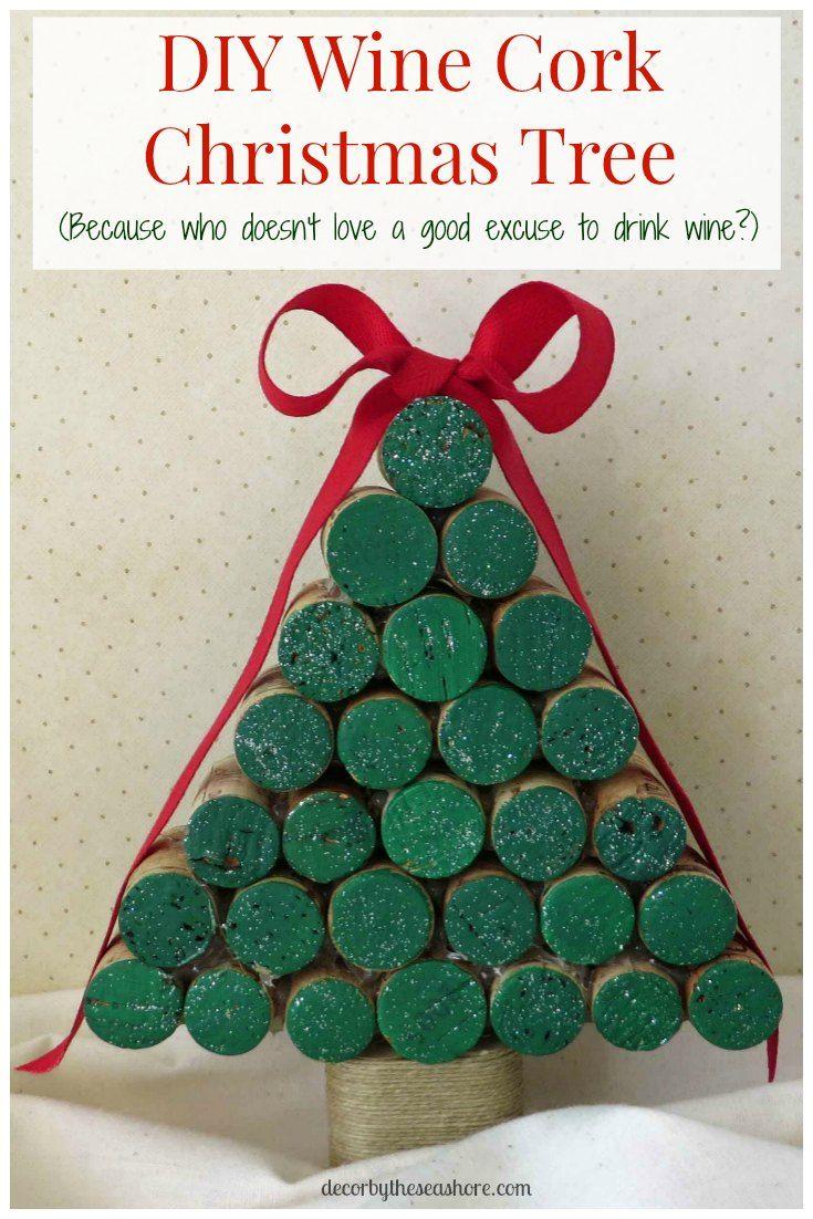 diy wine cork christmas tree tutorial