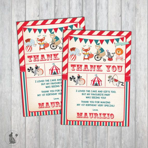 Carnival Birthday Thank You Card Vintage Circus Party Thank You