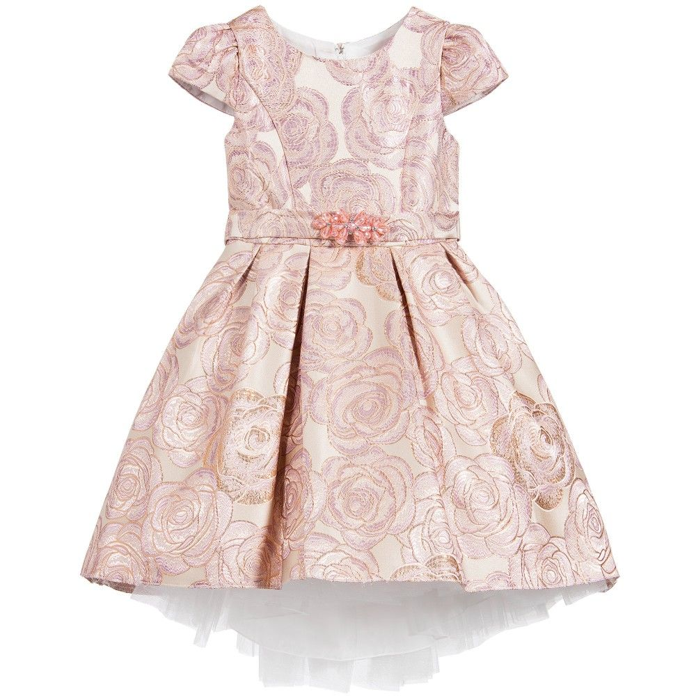 Girls rose pink and lilac brocade dress decorated with jewels by Romano Princess.