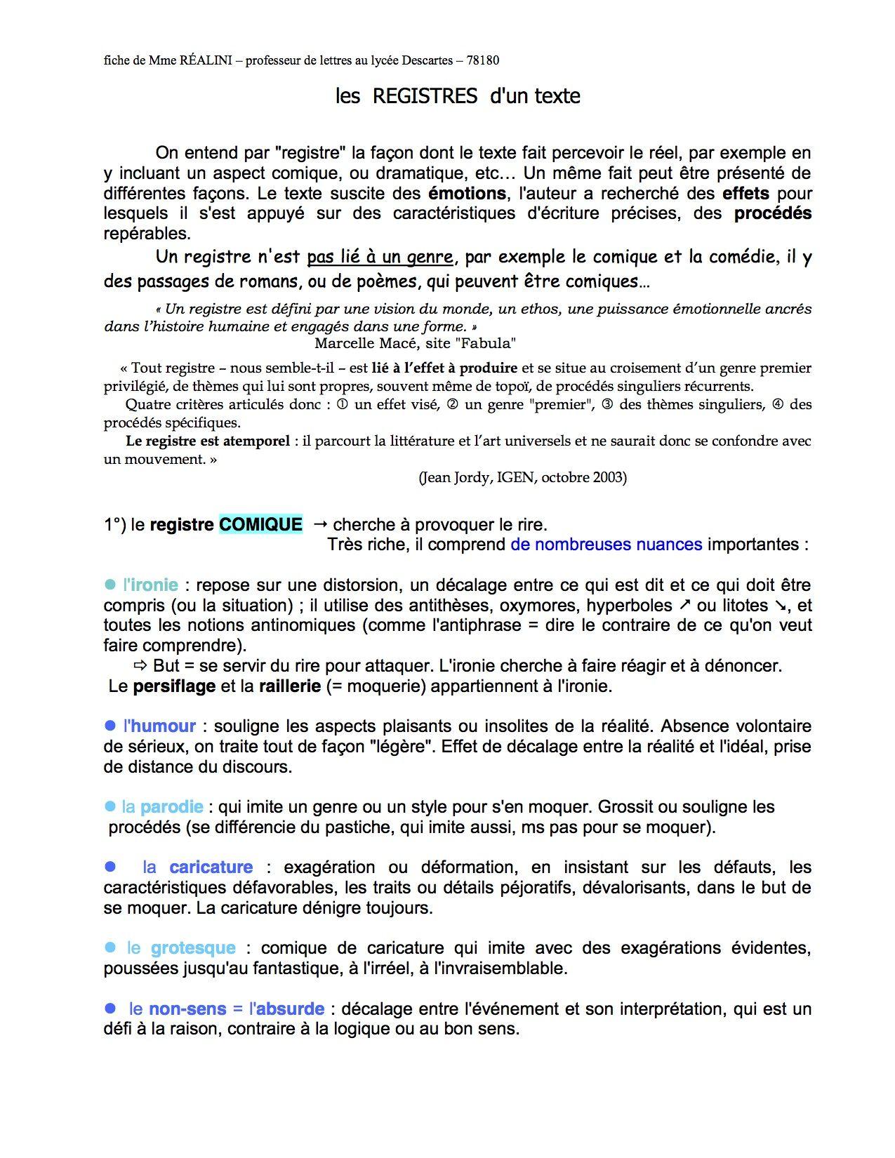 Different Registres Litteraires Page 1 Emotions Les Emotions Texte