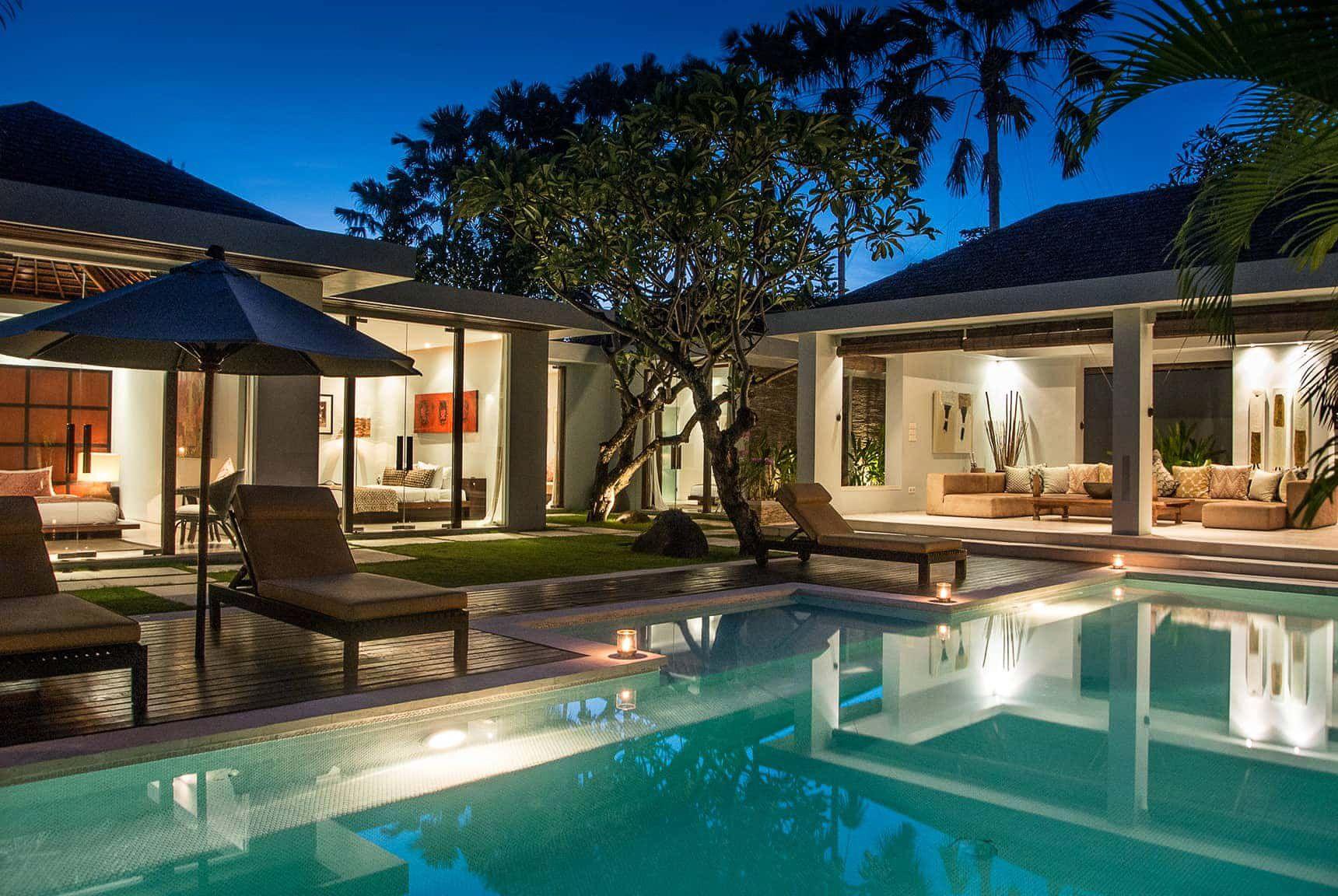 Bali Villa Photography Kembali Villas Pool Views Night Time Lighting Bali House Hawaii Homes Villa