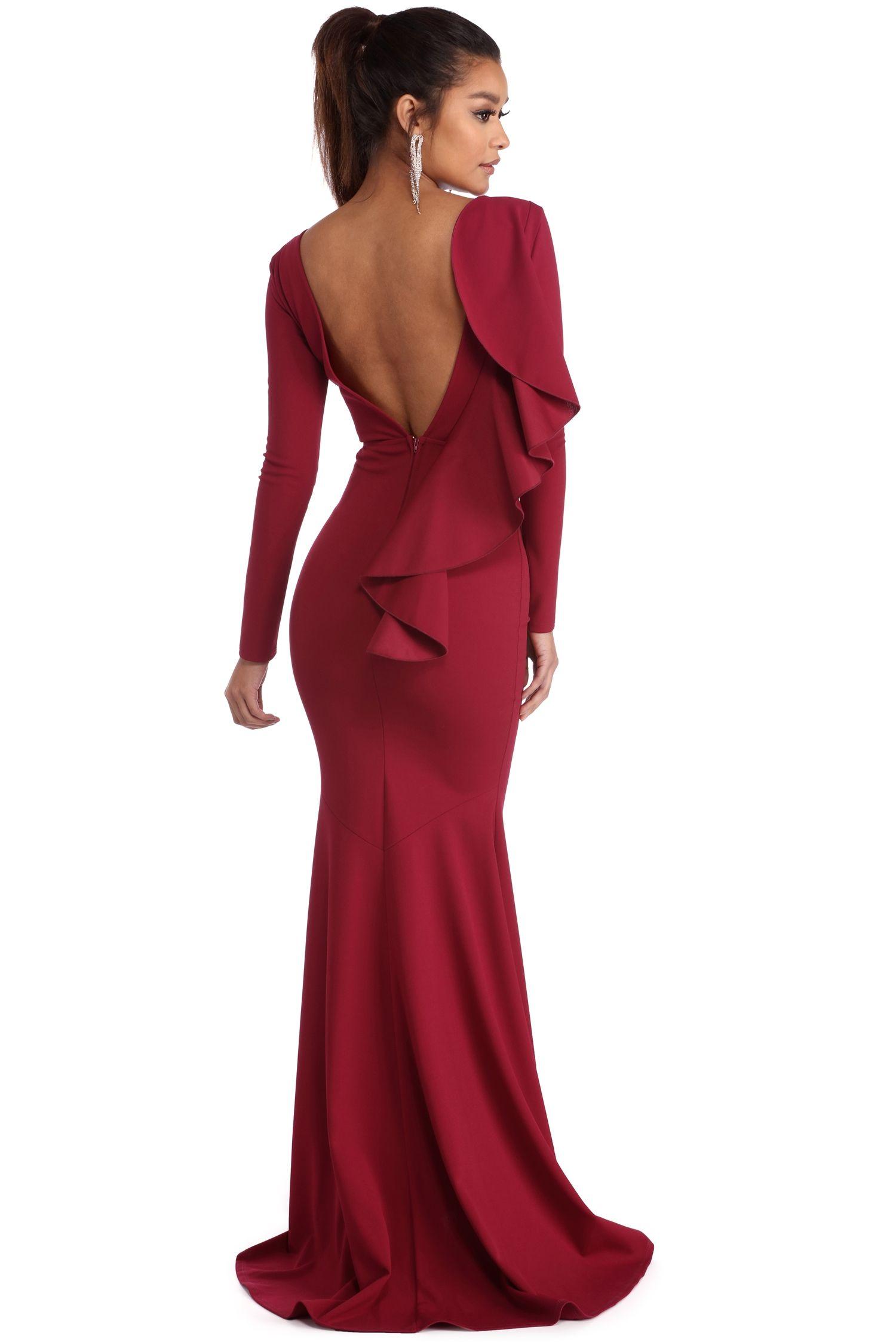 Rosie Burgundy Ruffled Prom Dress | windsor | Something for Alyssa ...