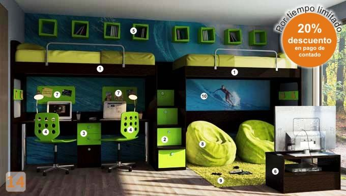 Escritorio con estantes camas marineras varones bedroom for Amoblamientos juveniles