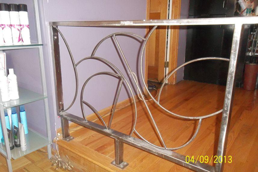 Best Custom Made Brushed Steel Railing 34H X 48W X 2D Orig 640 x 480
