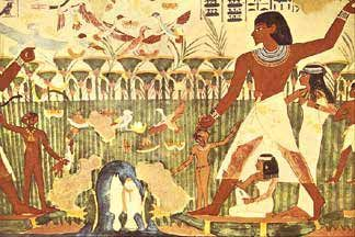 Delicieux Hunting Scene With Boomerang, Tomb Of Nakht XVIII Dynasty. Egyptian Wall  Painting