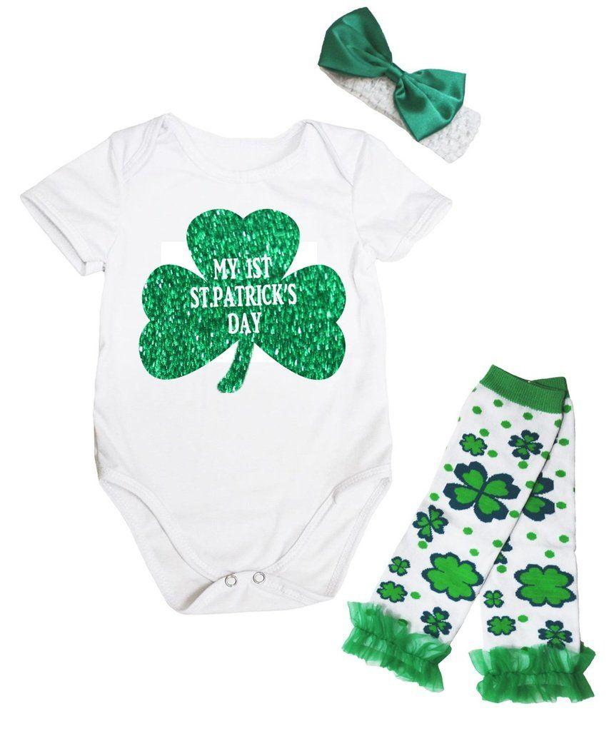 Petitebella Happy St Patricks Day Green Romper Clover Baby Skirt Nb-12m