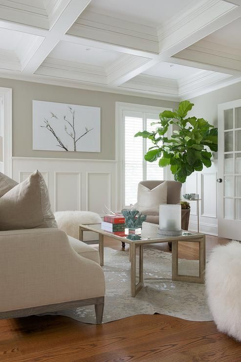 Stirling Mills Interior Design Under A White Coffered Ceiling A Lovely White And Tan Living Room I Dining Room Wainscoting Tan Living Room White Wainscoting