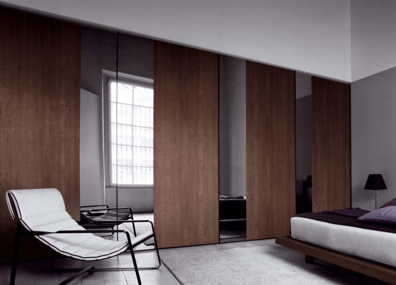Furniture Wooden And Mirror Sliding Doors Combination Of Wall To