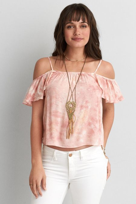 58a8232505e42 American Eagle Outfitters AEO Tie Dye Cold Shoulder Top