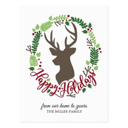Happy Holidays Wreath and Reindeer Postcards