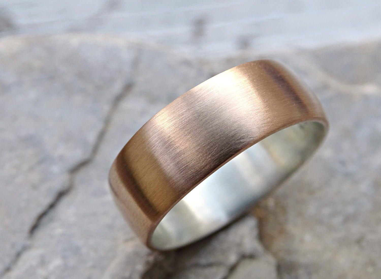 mens bronze wedding ring, domed bronze ring silver, mens