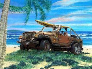 Jeep beach surf painting