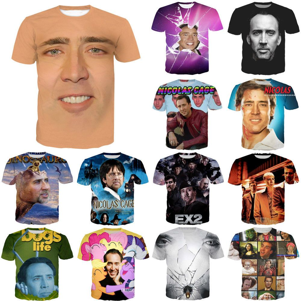 d8bd0080f12b4 Movie Actor Nicolas Cage Funny Print 3D T-Shirt Women Men Casual Short Tee  Tops  fashion  clothing  shoes  accessories  mensclothing  shirts (ebay  link)