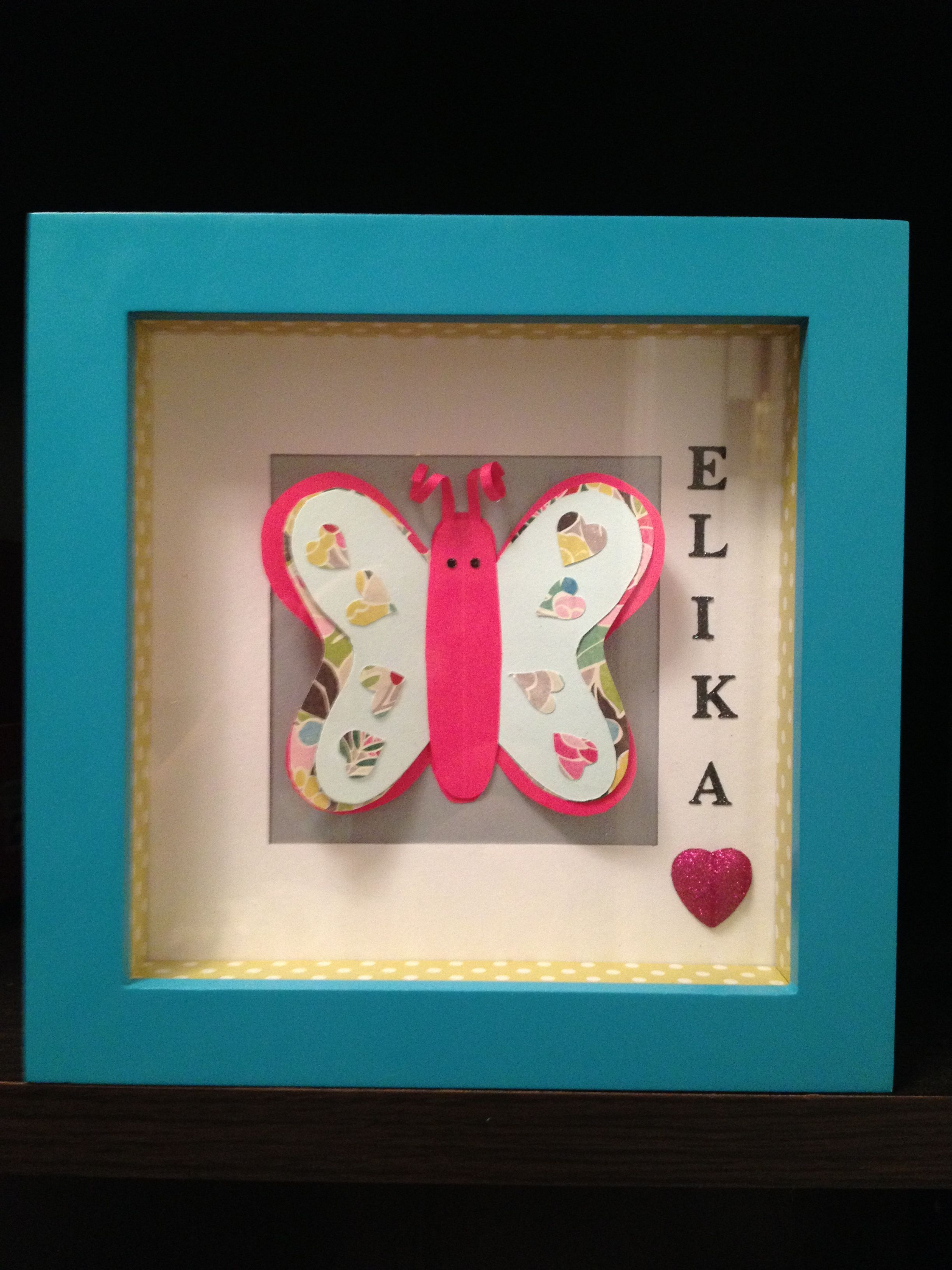 Shadow box butterfly for a 2 year old girl's birthday gift