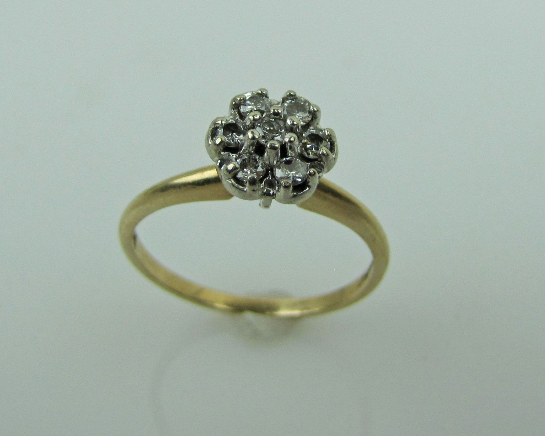 Diamond Cluster Engagement Ring Vintage 14k Gold Diamond Pansy Flower Cluster  Ring Vintage Signed Magnolia Diamond Engagement Ring