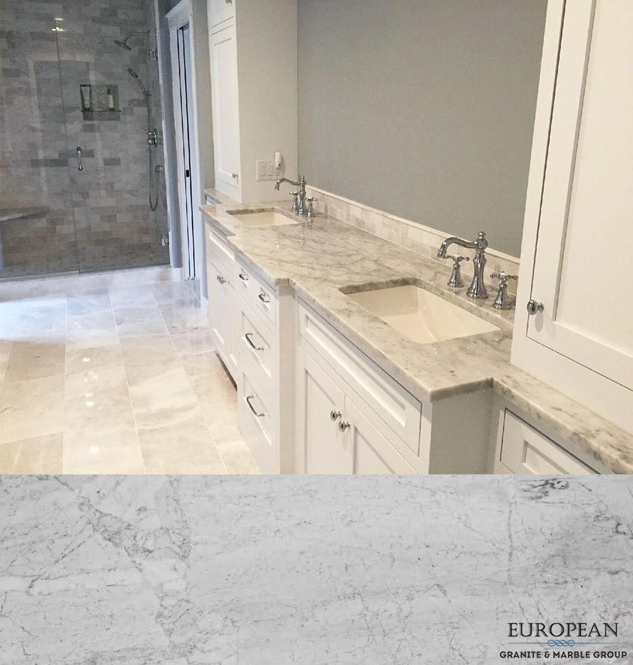 Seen In This Magnificent Bathroom Countertop White Carrara Marble Is A Classic And Popular Look For Every S Romantic Home Decor Bathroom Design Romantic Homes