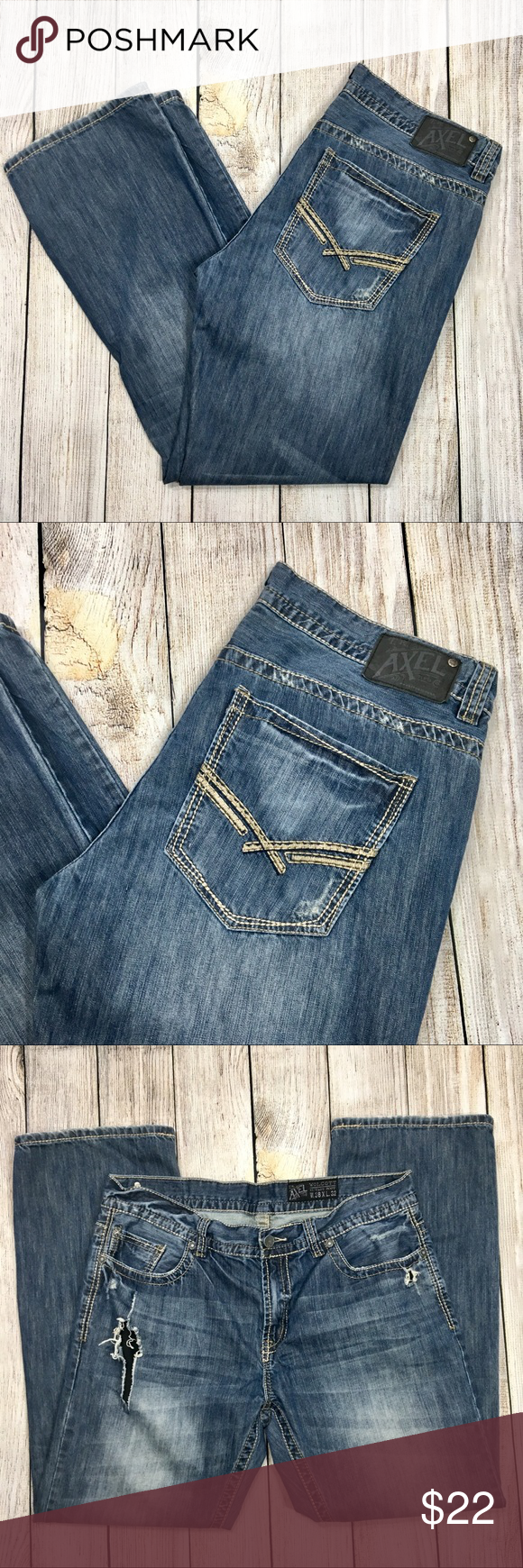"""ecde54dff23 {axel} Mens Destroyed Wolcott Vtg Boot Cut Jeans Mens destroyed, distressed  blue """"Wolcott Vintage Boot"""" jeans by Axel. Size W38 x L32."""