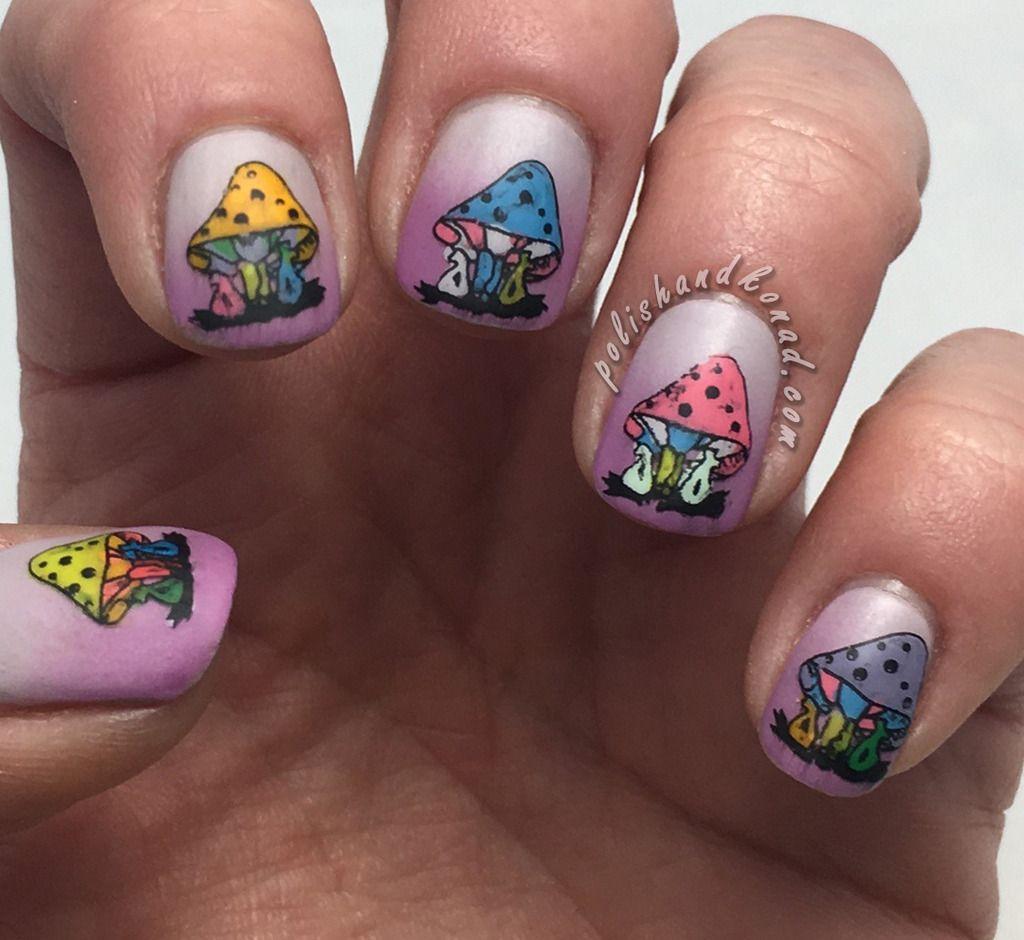 Reverse Stamping Mushroom Nail Art (Polish & Konad) | Mushrooms and ...