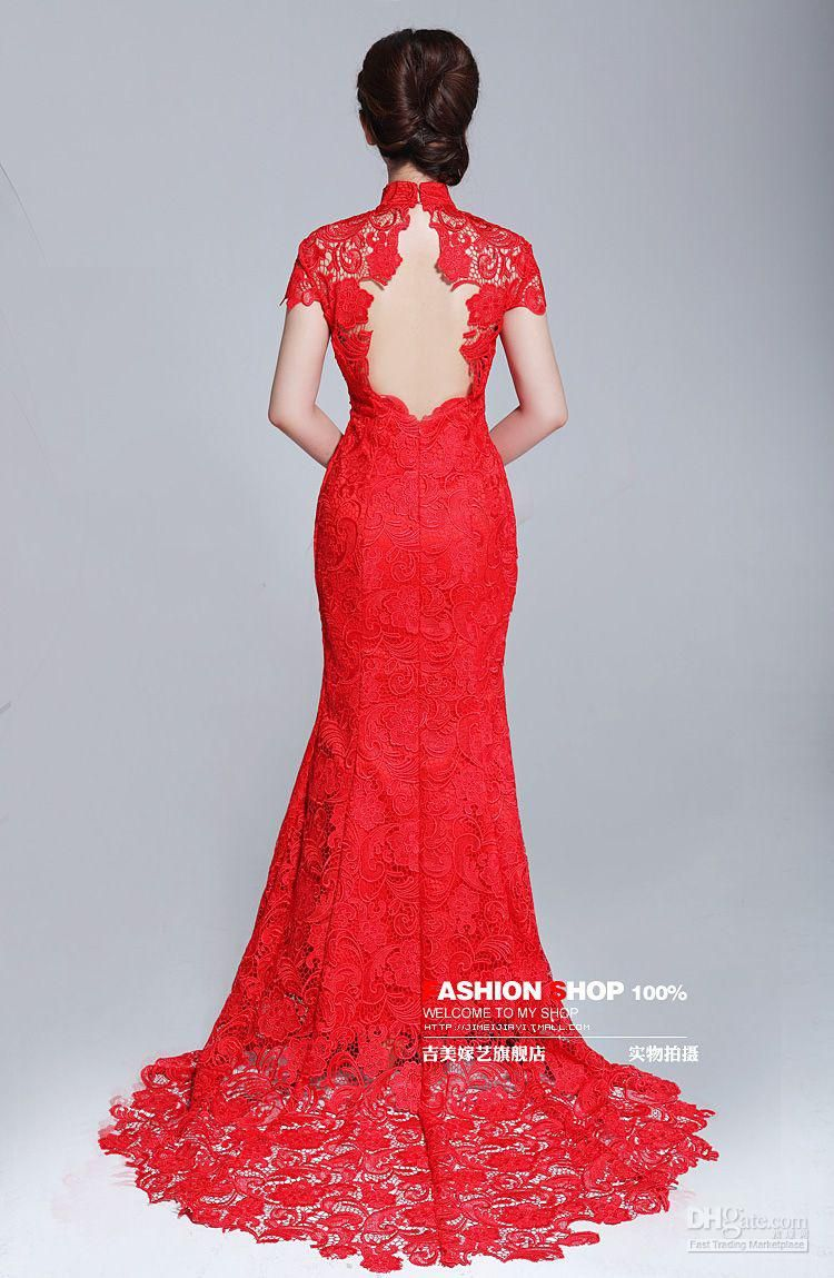 lace chinese wedding dress back, wouldn\'t do a red dress, but still ...