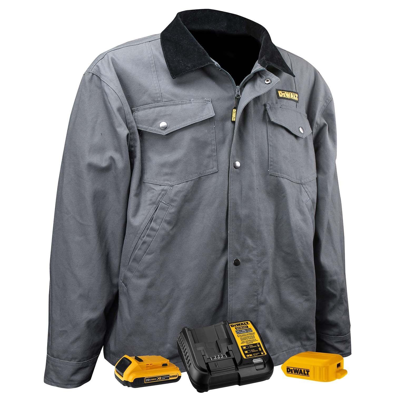 Dewalt unisex heated barn coat charcoal color keeps you