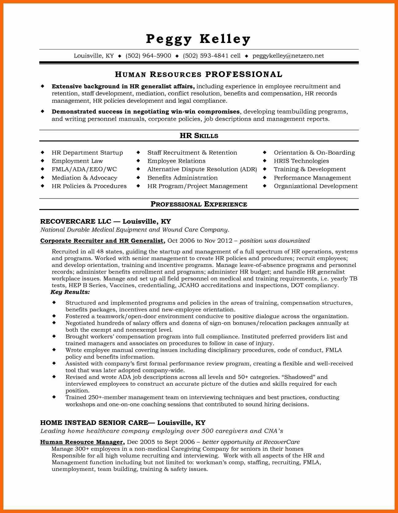 human resources generalist resume achievements virtren com