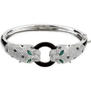 Diamond and Emerald Bangle Bracelet from Ferbers Unique Fine Jewelry.