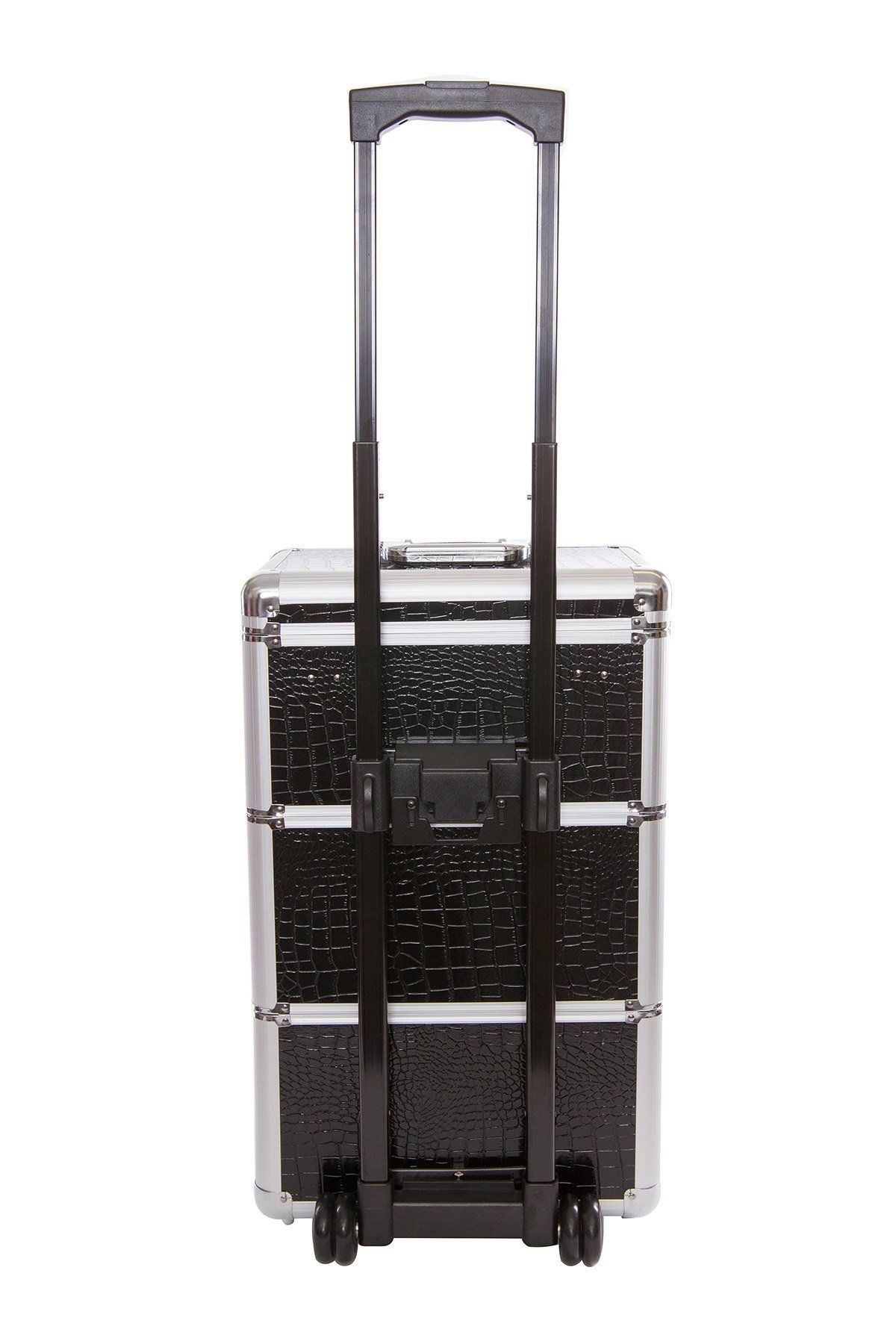 This 2tier silver aluminium cosmetic travel_trolley case