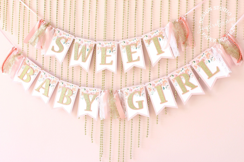 gold baby shower Sweet baby girl banner sweet baby girl sign baby shower banner baby banner baby shower deco baby shower gold banner