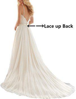 Topquality2016 Women s Spaghetti Beaded Appliques Wedding Dress Size 0 White 3b50814f47