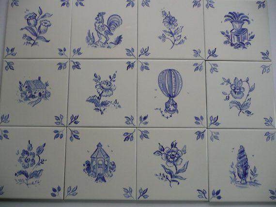 Ceramic Tiles 6 X In Blue On Beige