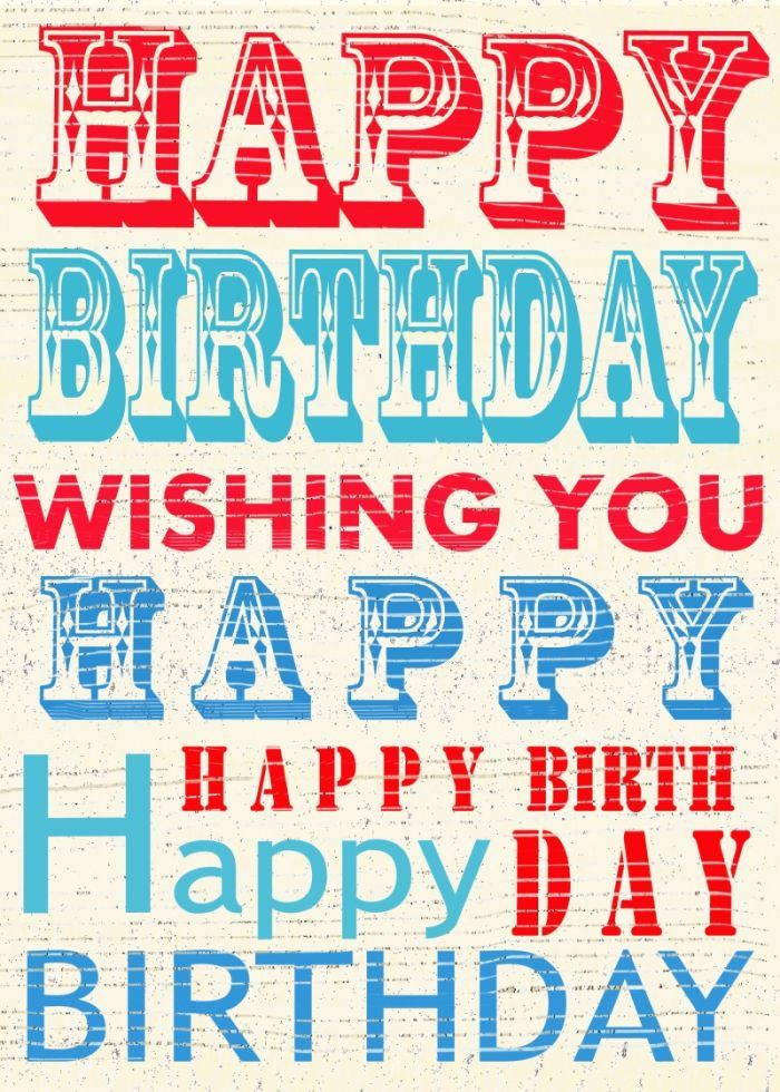 Jane Heyes - vintage text Happy Birthday red white blue ...