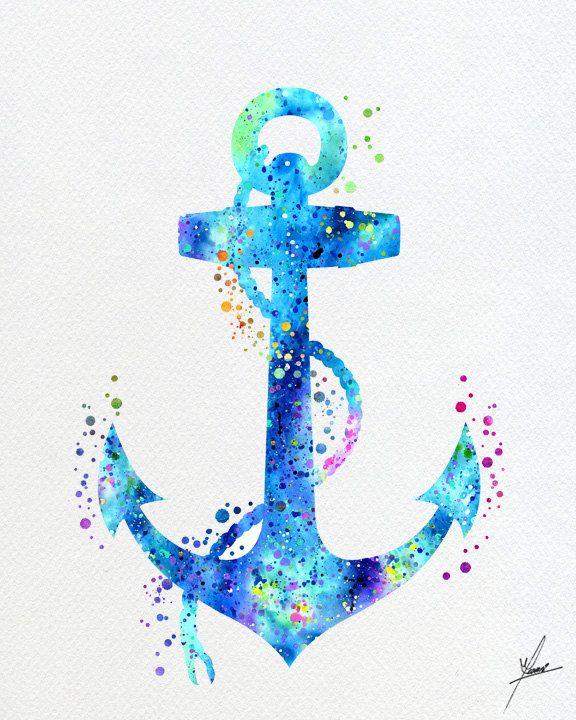 Blue Anchor Art Print Contemporary Abstract Watercolor Wall Decor