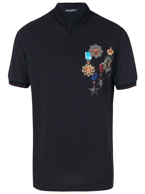 bfa98263c Dolce & Gabbana emblem patch polo shirt   T Shirts   Shirts, Polo ...